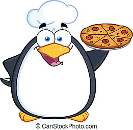 Chef Penguin Holding A Pizza Pie Cartoon Character