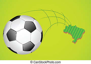 Soccer ball with map of Brazil