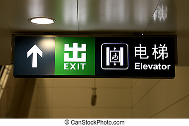 Subway sign in Chinese and English, Beijing, China