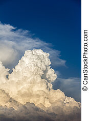 Storm clouds bathed in sunset light - Billowing cumulonimbus...