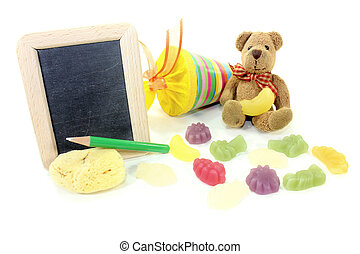Back to School with Teddy and blackboard - Teddy bear with...