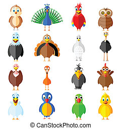 Collection of birds - easy to edit vector illustration of...