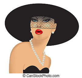 femme fatale with black hat