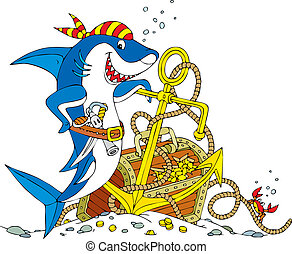 Pirate Shark - Great white shark with a pistol, saber,...