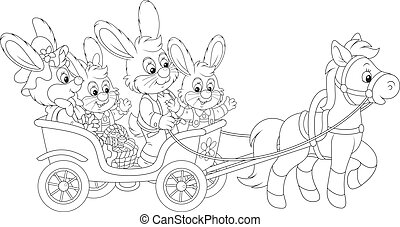 Easter bunnies riding a pony carria - Family of rabbits...