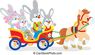 Easter bunnies riding a pony - Family of rabbits travelling...