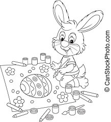 Little Bunny draws an Easter card - Easter rabbit drawing a...
