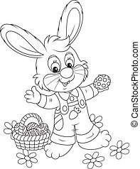 Easter Bunny with a basket of eggs - Rabbit with a basket of...