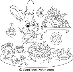 Bunny cooks a holiday cake to Easte - Easter rabbit...