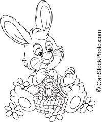 Easter Bunny with a basket of eggs - Little rabbit sitting...