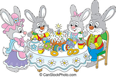 Easter bunnies at the festive table