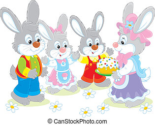 Easter cake - Family of rabbits celebrating Easter with a...