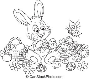 Little Bunny paints Easter eggs - Rabbit coloring Easter...