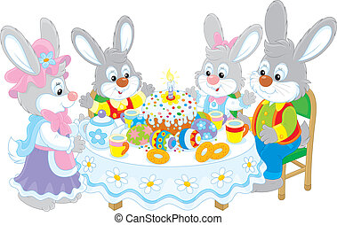Easter bunnies at the festive table - Family of rabbits...