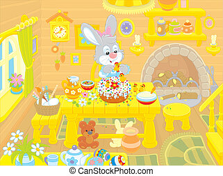 Easter bunny cooks a holiday cake - Little rabbit decorating...