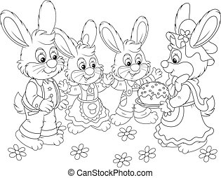 Bunnies with an Easter cake - Family of rabbits celebrating...