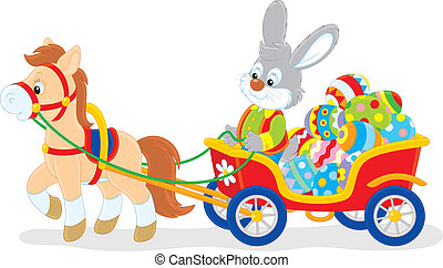 Easter bunny - Rabbit carrying Easter eggs in a cart with a...