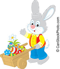 Easter Bunny - Rabbit walking with a hand cart filled with...