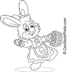 Easter Bunny with a basket of eggs - Rabbit in a holiday...
