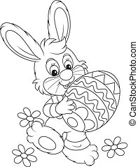 Easter Bunny - Little rabbit carries a big painted Easter...