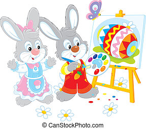 Easter Bunnies painters - Little rabbits drawing a colorful...