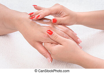 beauty salon, hands massage with moisturizing cream - beauty...