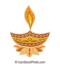 Diwali Diya - easy to edit vector illustration of Diwali...