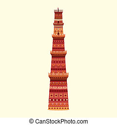 Qutub Minar - easy to edit vector illustration of Qutub...