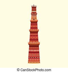 Qutub Minar - easy to edit vector illustration of Qutub...