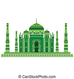 Taj Mahal - easy to edit vector illustration of Taj Mahal...