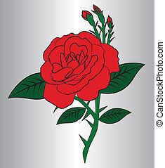 Red rose - unshaded rose vector in eps10