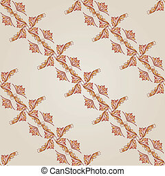 Pattern - Seamless diagonal foliate pattern of brown henna...