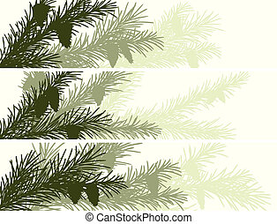 Banner of spruce branch - Set vector horizontal banner of...