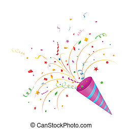 Party horn blower - easy to edit vector illustration of...