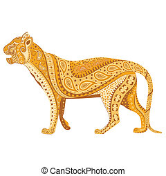 Indian Tiger - easy to edit vector illustration of Indian...