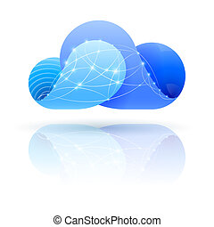Digital cloud - Cloud icon with shiny network dots over...