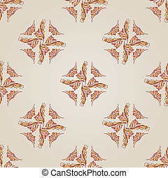Pattern - Seamless foliate pattern of brown henna on the...