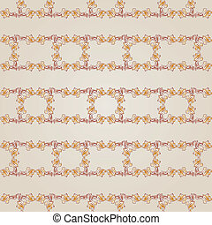 Pattern - Seamless floral gorizontal line pattern of brown...