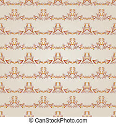Pattern - Seamless gorizontal floral pattern of brown henna...