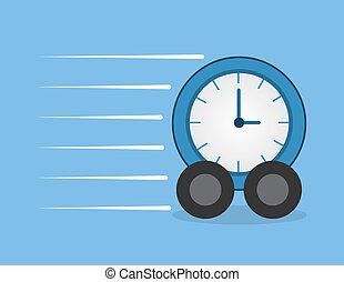 Clock Wheels Speeding - Clock with wheels speeding through