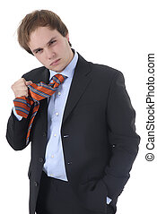 mad young business man in a white background