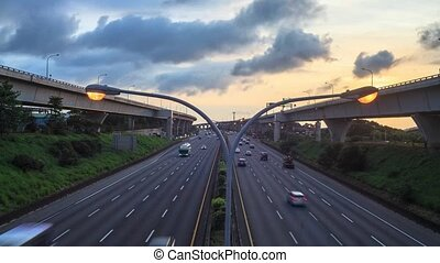 Timelapse of highway sunset, Taiwan - Time lapse of highway...