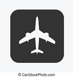 Airplane flat icon - Black flat icon with Airplane sign...