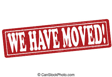 We have moved - Stamp with text we have moved inside, vector...