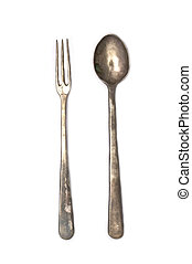 Antique Fork and Spoon - A set of antique silver cutlery-- a...