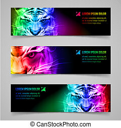 Flaming force - Set of banners with mystic tiger in...