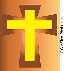 Yellow Jesus Cross on Cross