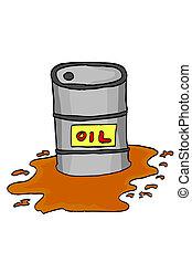 spill oil from barrel