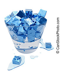 Stylized melting ice cubes in the glass bucket