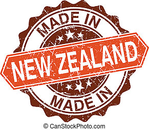 made in New Zealand vintage stamp isolated on white...